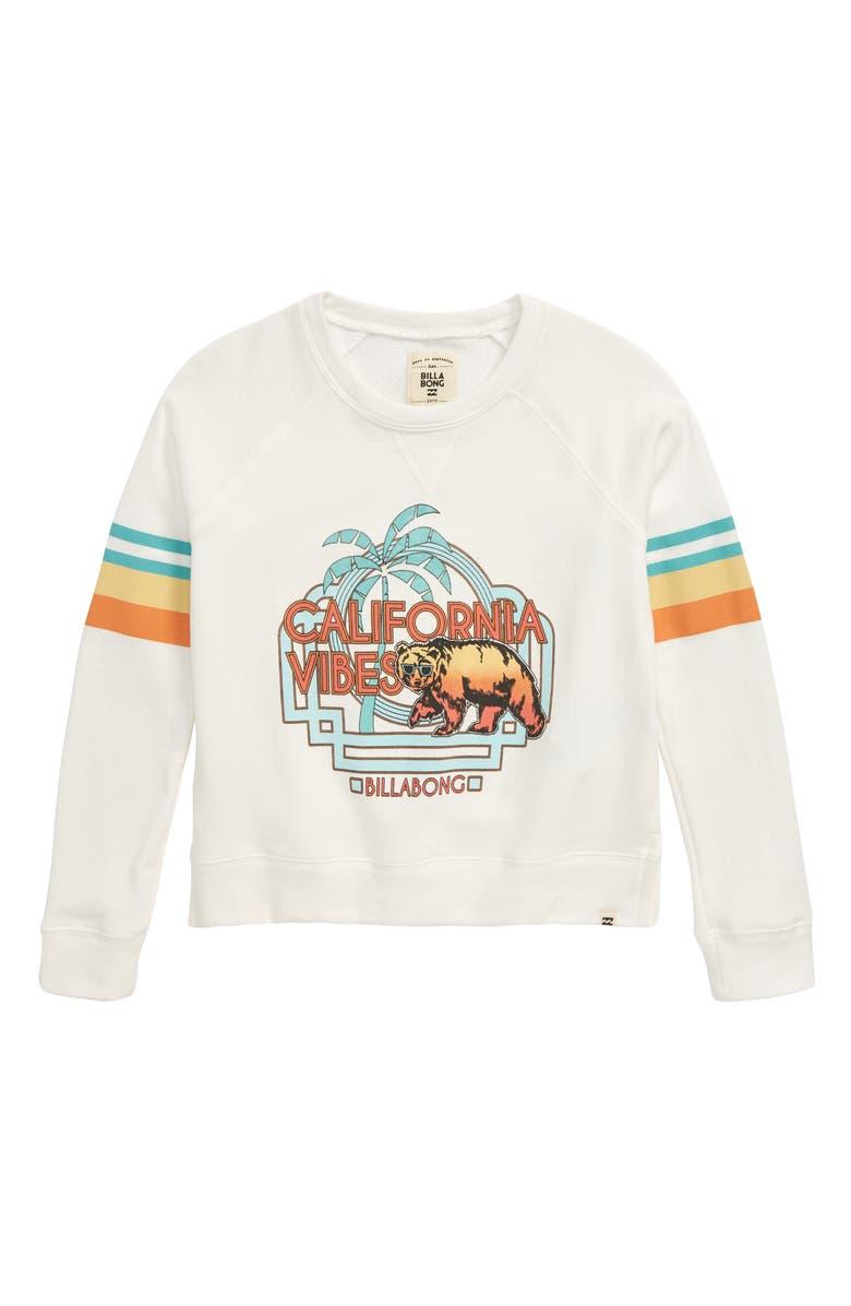 BILLABONG Weekend's Here Graphic Sweatshirt, Main, color, SALT CRYSTAL