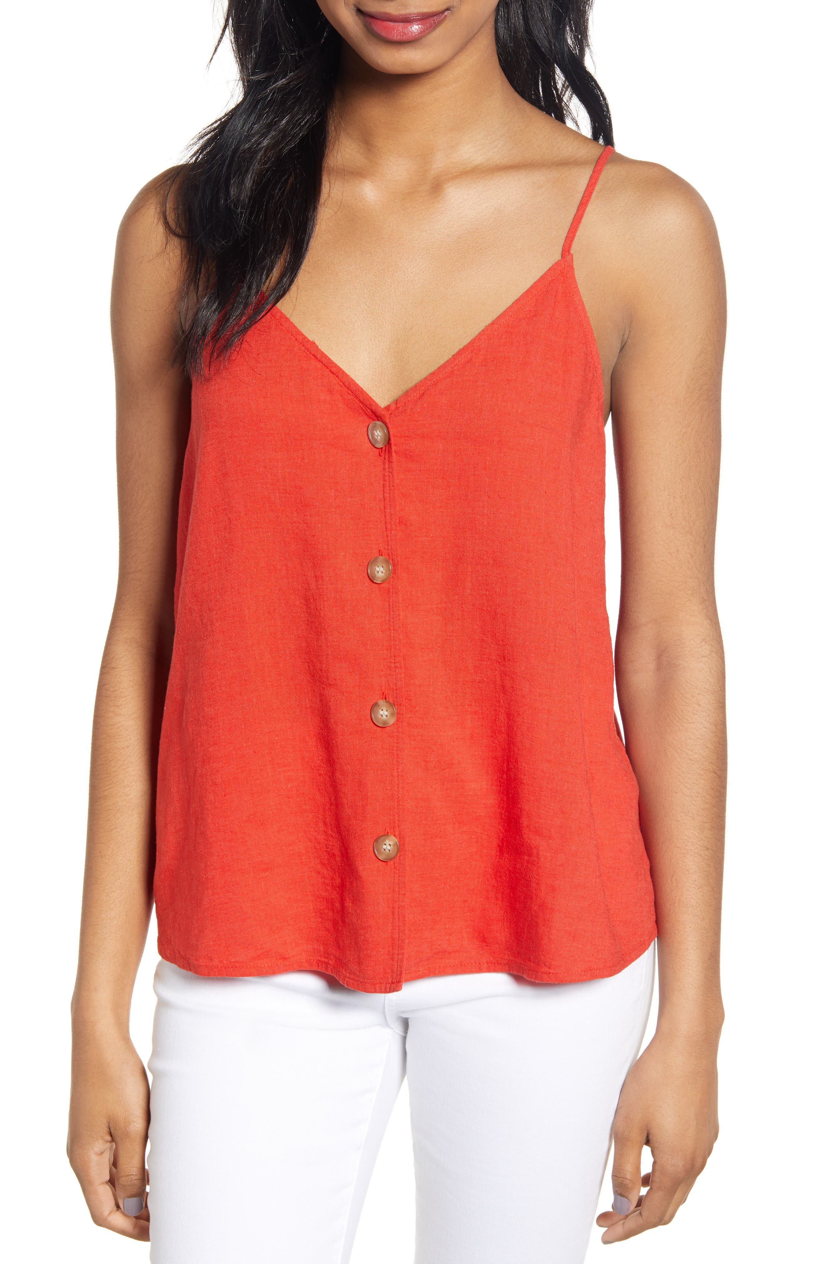 ,                             Linen Blend Camisole Top,                             Main thumbnail 1, color,                             RED FIERY CD