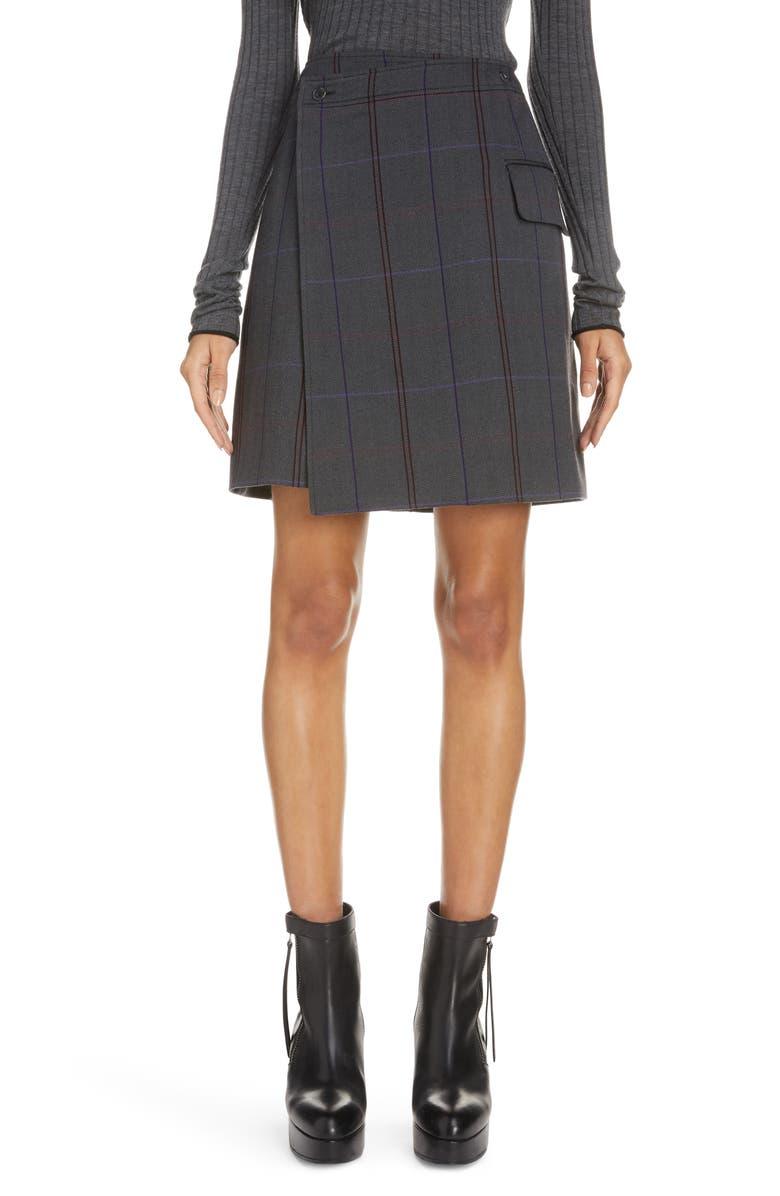 ACNE STUDIOS Suit Wrap Skirt, Main, color, GREY/ PURPLE