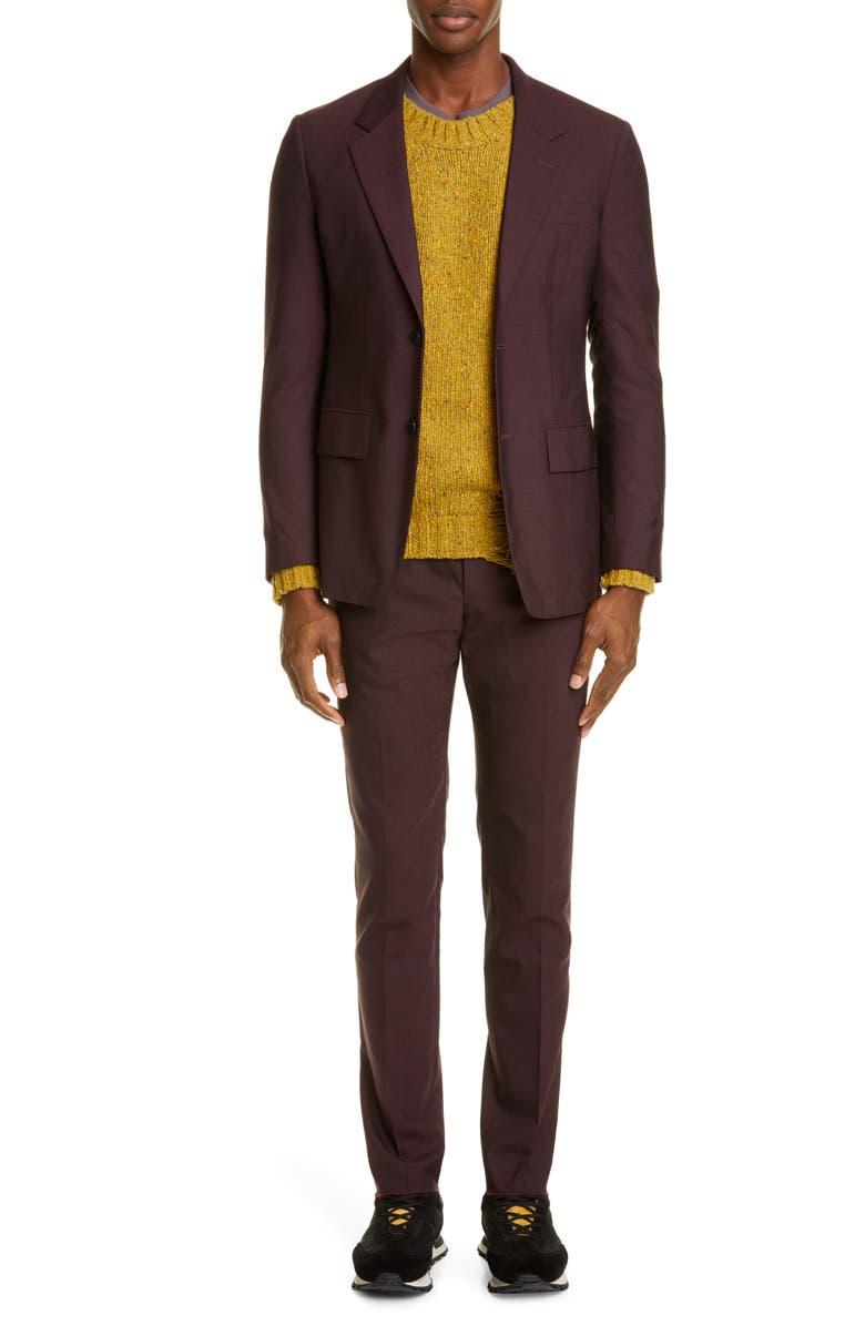 MAISON MARGIELA Solid Wool Poplin Suit, Main, color, MERLOT