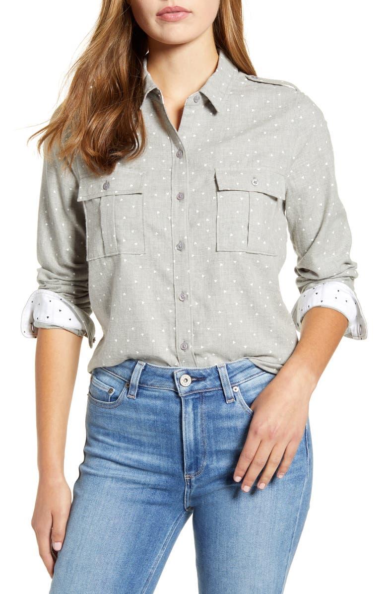LUCKY BRAND Laura Hearts & Herringbone Utility Shirt, Main, color, 060