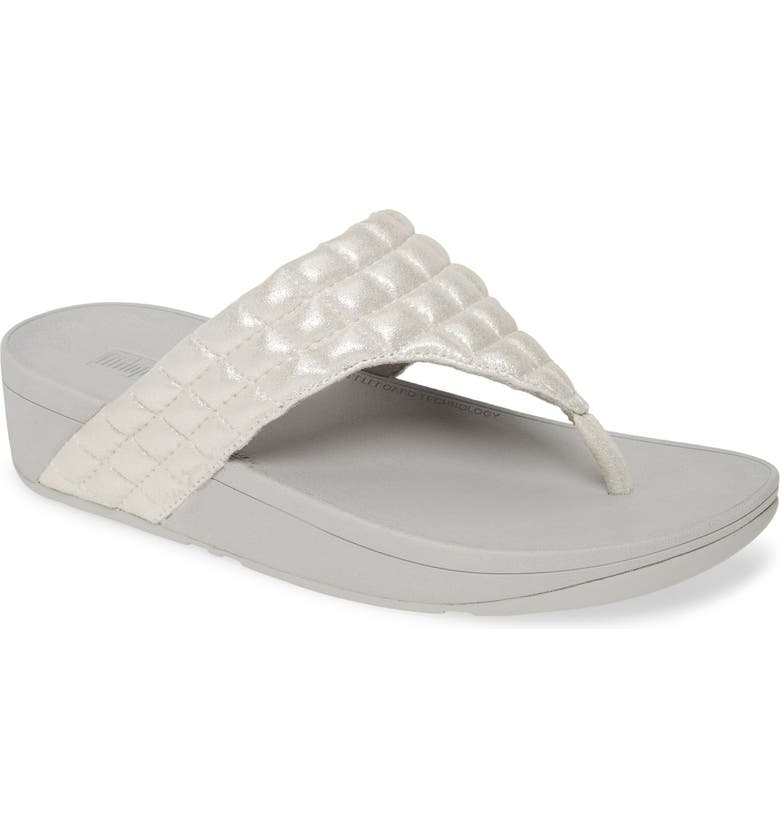 FITFLOP Lulu Padded Shimmy Suede Flip Flop, Main, color, SILVER SUEDE