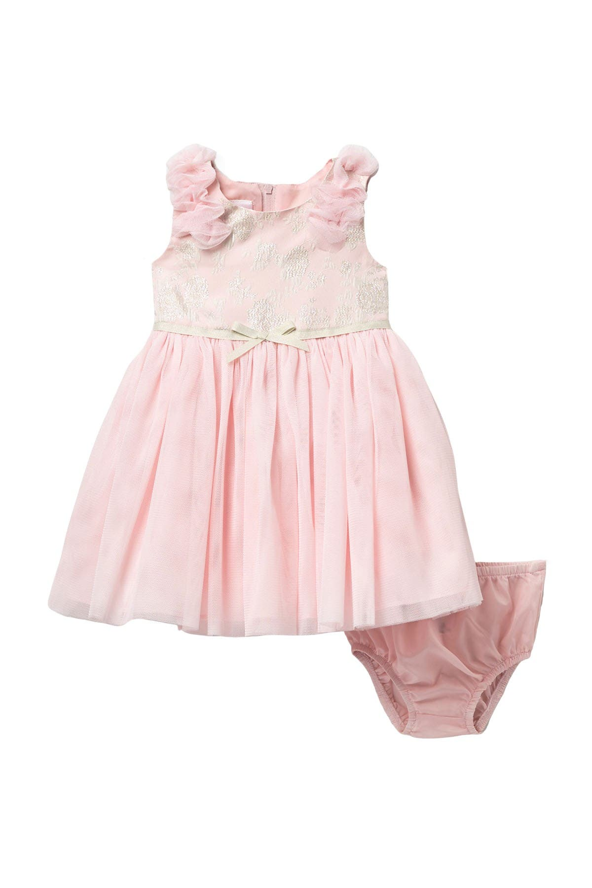 Image of Iris & Ivy Sleeveless Puff Shoulder Jacquard Dress & Bloomer Set