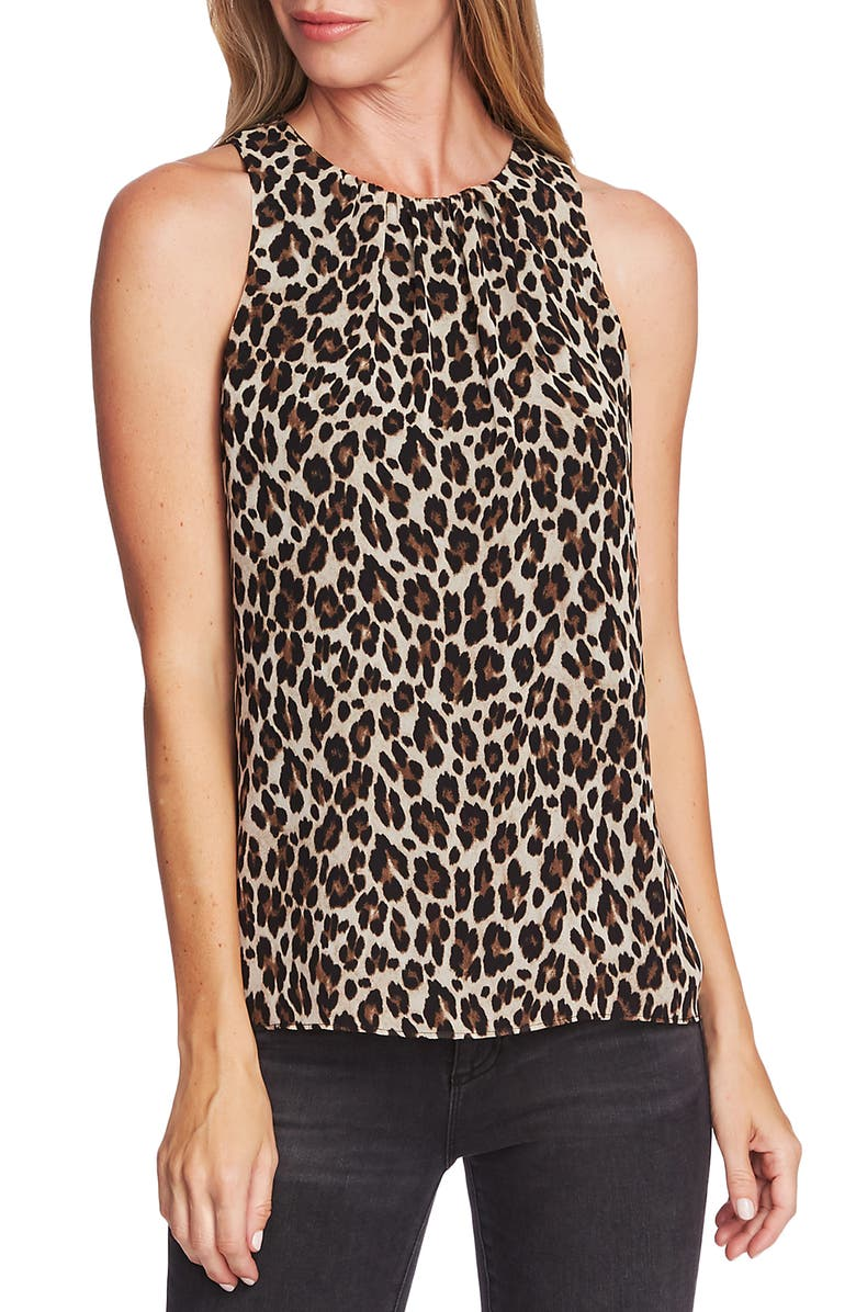 VINCE CAMUTO Shirred Neck Leopard Print Top, Main, color, 006