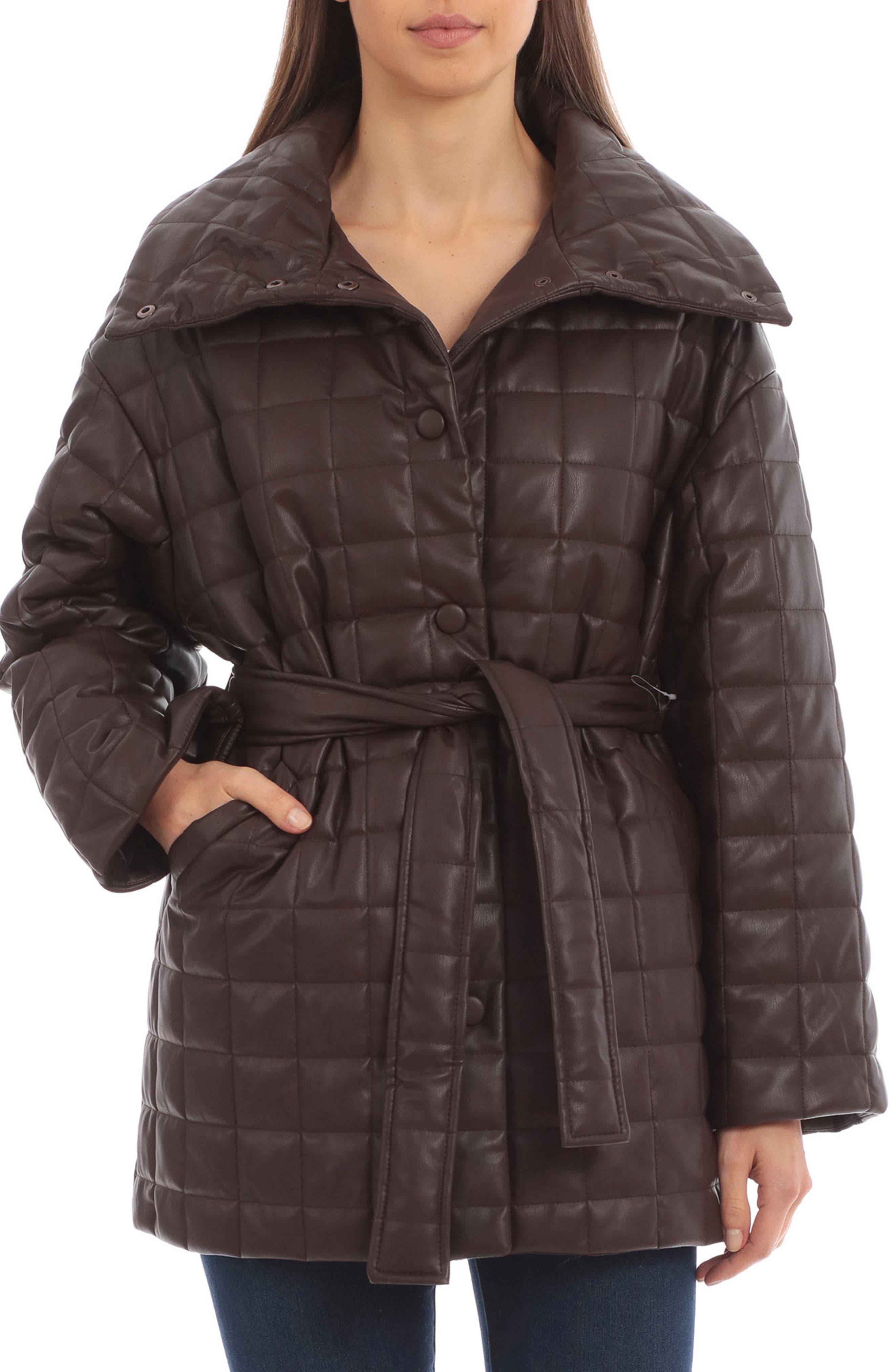 Box Quilt Faux Leather Coat
