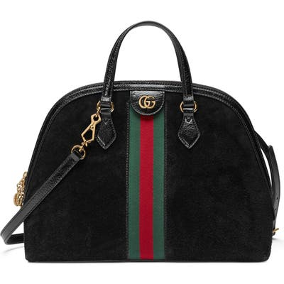 Gucci Ophidia Suede Dome Satchel - Black