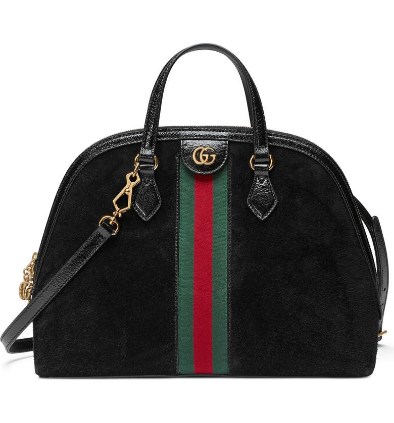 GUCCI Ophidia Suede Dome Satchel, Main, color, NERO/ NERO/ VERT RED VERT
