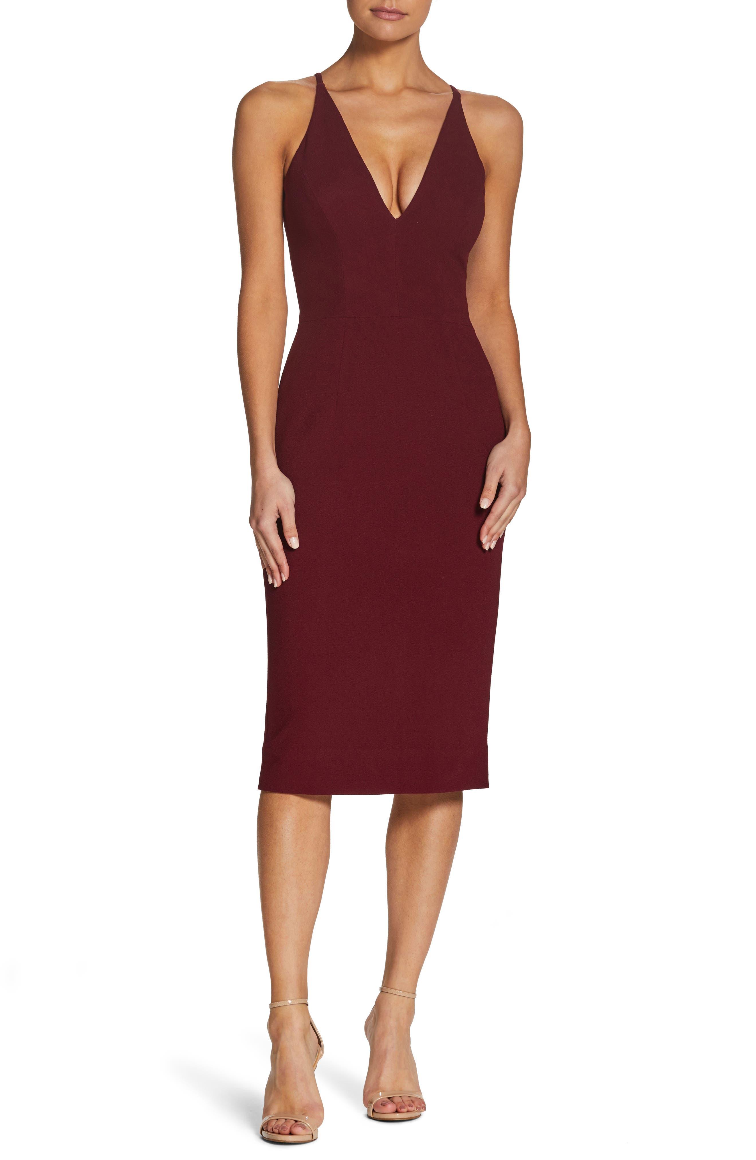 Dress The Population Lyla Crepe Sheath Dress, Burgundy