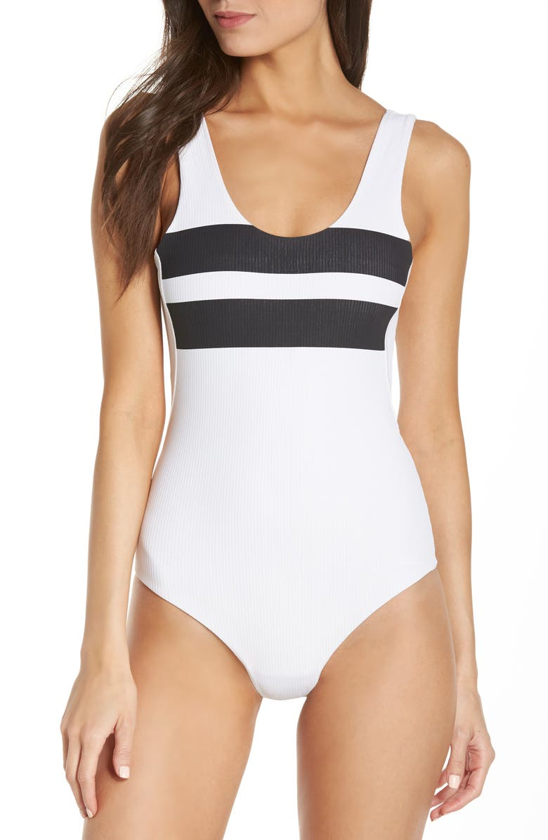 HURLEY Block Party Quick Dry Swim Bodysuit, Main, color, 100