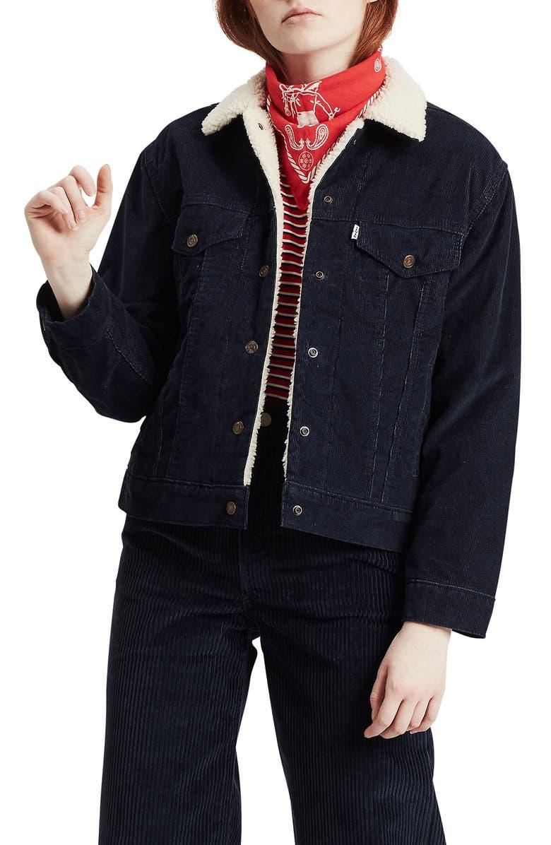 LEVI'S<SUP>®</SUP> Ex-Boyfriend Faux Shearling Lined Corduroy Trucker Jacket, Main, color, VINTAGE NAVY BLAZER