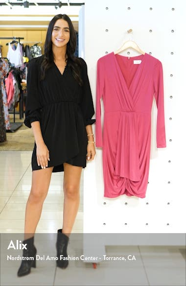 Shirred Front Long Sleeve Cocktail Dress, sales video thumbnail