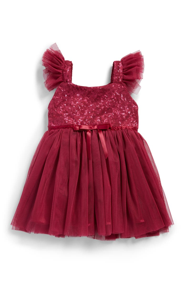 POPATU Sequin Bodice Tulle Dress, Main, color, MAGENTA