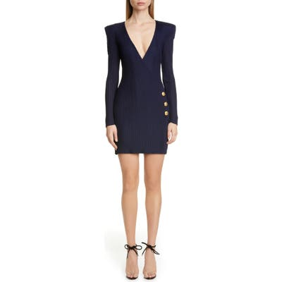 Balmain Long Sleeve Ribbed Faux Wrap Dress, US / 40 FR - Blue
