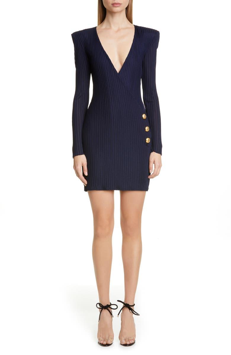 BALMAIN Long Sleeve Ribbed Faux Wrap Dress, Main, color, MARINE