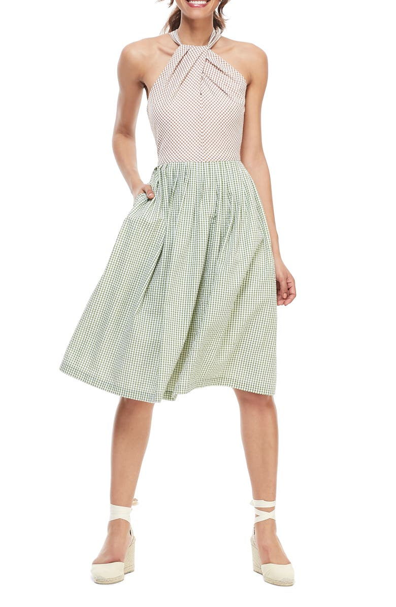 GAL MEETS GLAM COLLECTION Alma Two-Color Gingham Halter Neck Dress, Main, color, GREEN/ TAN