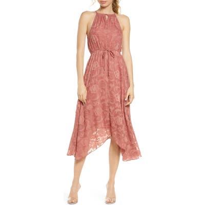Elizabeth Crosby Charlize Handkerchief Hem Dress, Coral