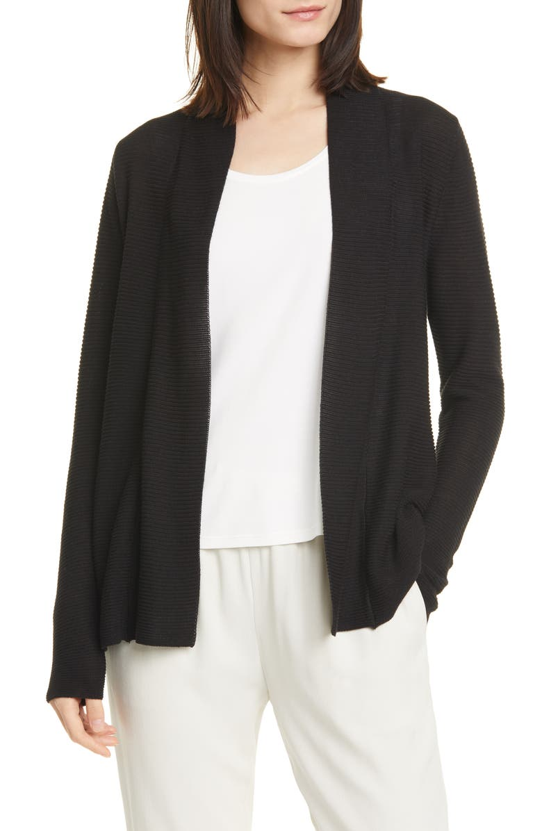EILEEN FISHER Horizontal Ribbed Open Front Cardigan, Main, color, BLACK