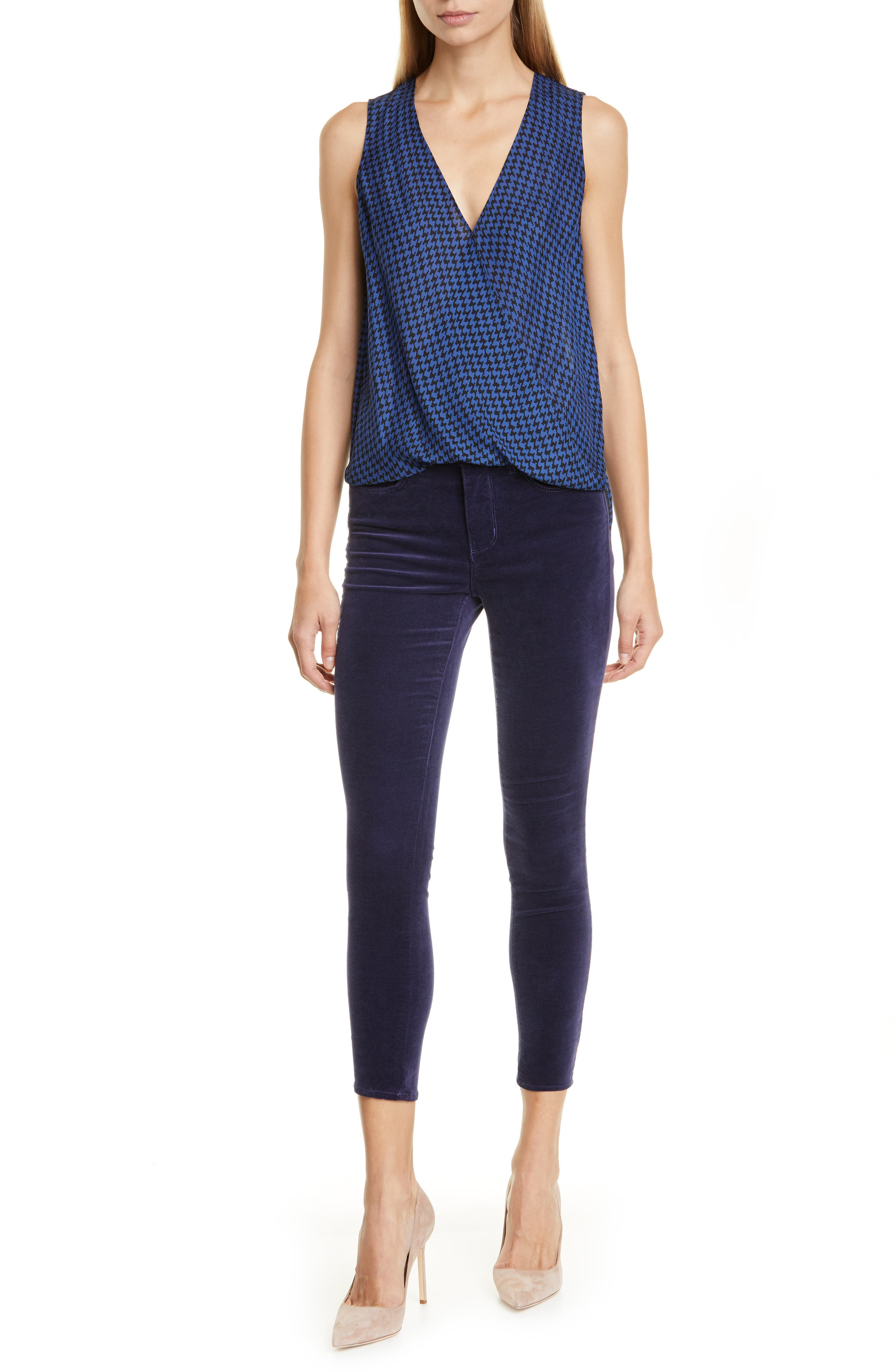 L'agence Tops Mila Draped Houndstooth Silk Surplice Blouse