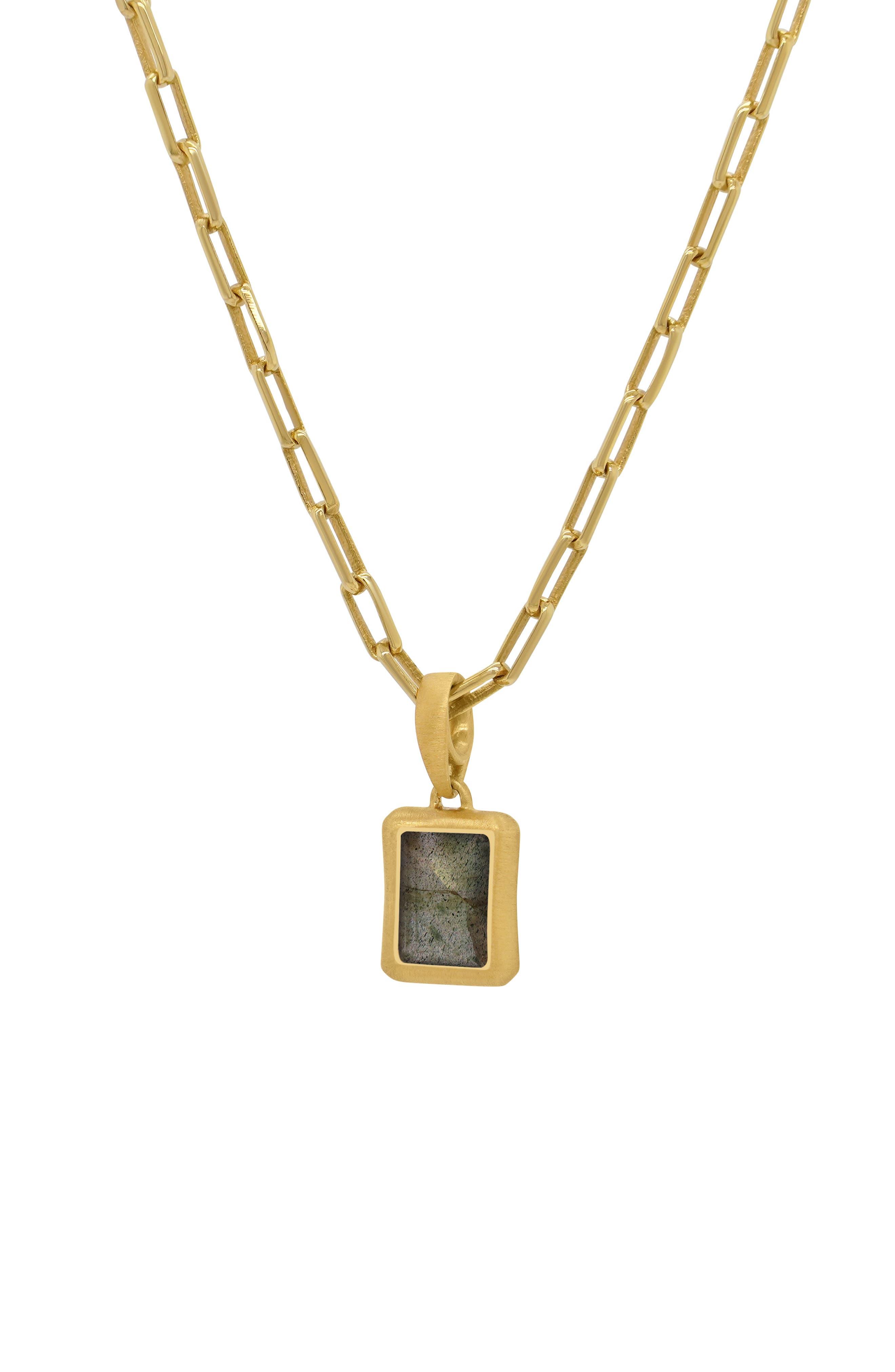 Baguette Stone Pendant Necklace