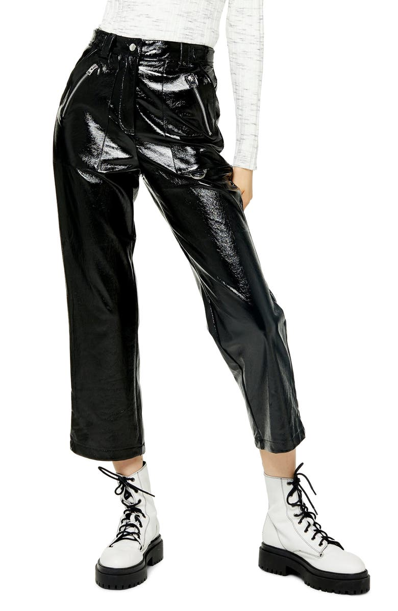 TOPSHOP Lily Straight Leg Faux Leather Trousers, Main, color, BLACK