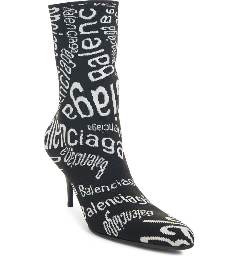 BALENCIAGA Knit Logo Bootie, Main, color, BLACK/ WHITE