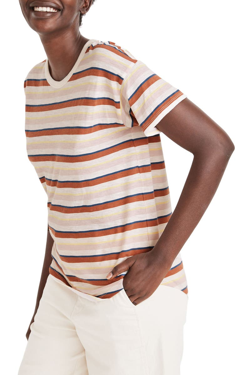 MADEWELL Daniels Stripe Whisper Cotton Rib Crewneck T-Shirt, Main, color, PEARL IVORY