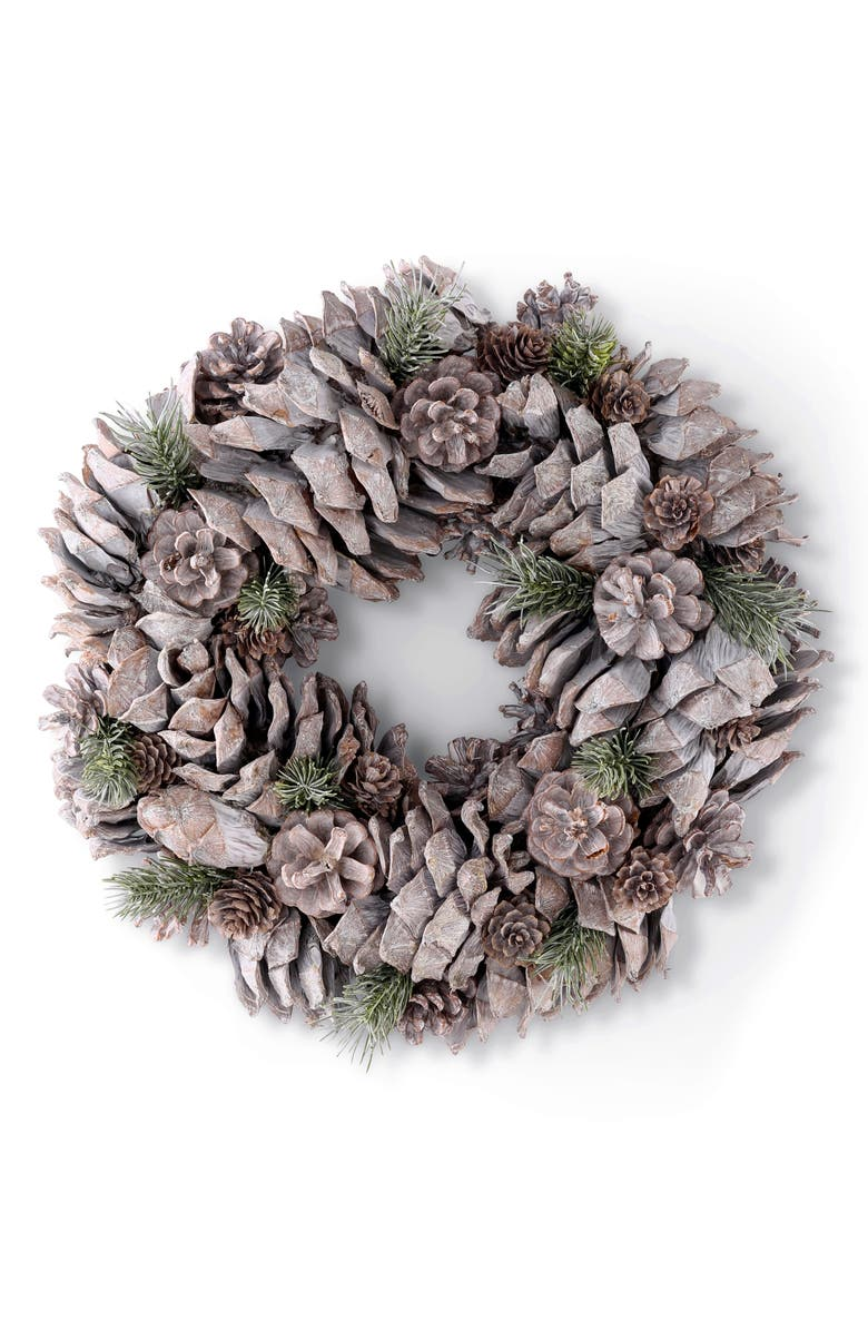 K & K INTERIORS Frosty Pinecone Wreath, Main, color, BROWN- SMALL