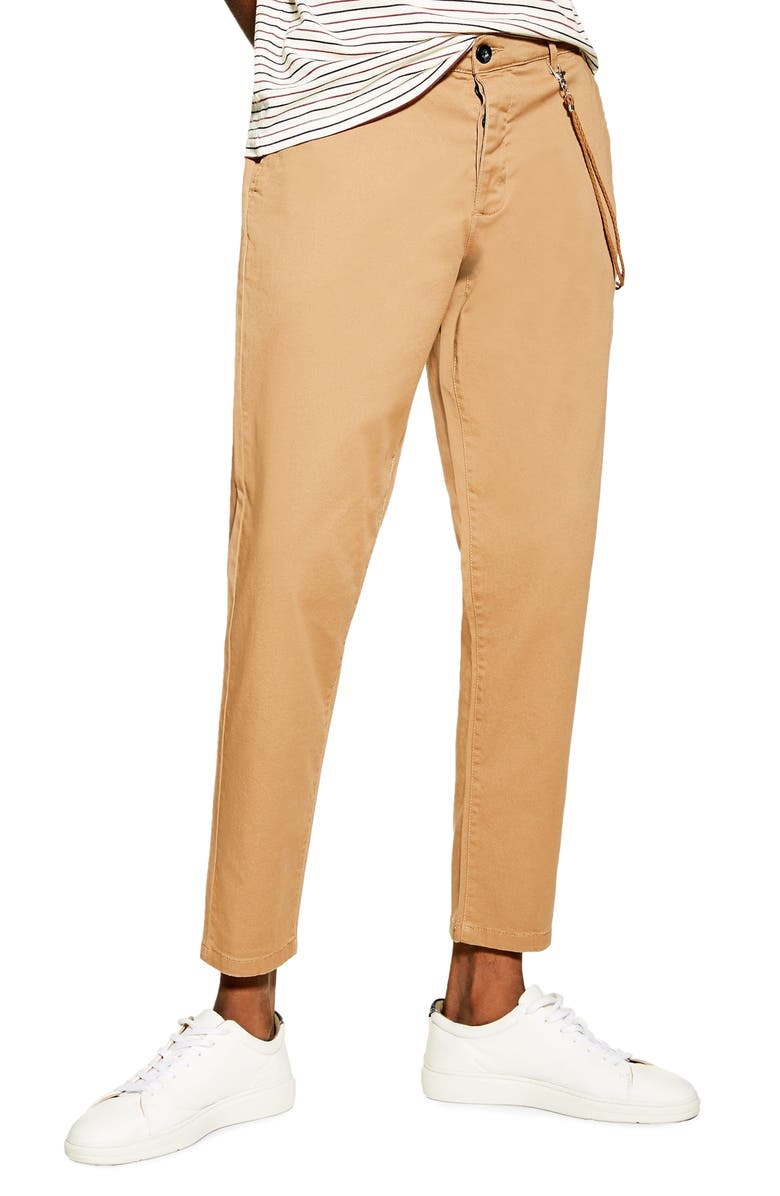 TOPMAN Slim Fit Dress Pants With Cord Chain, Main, color, STONE