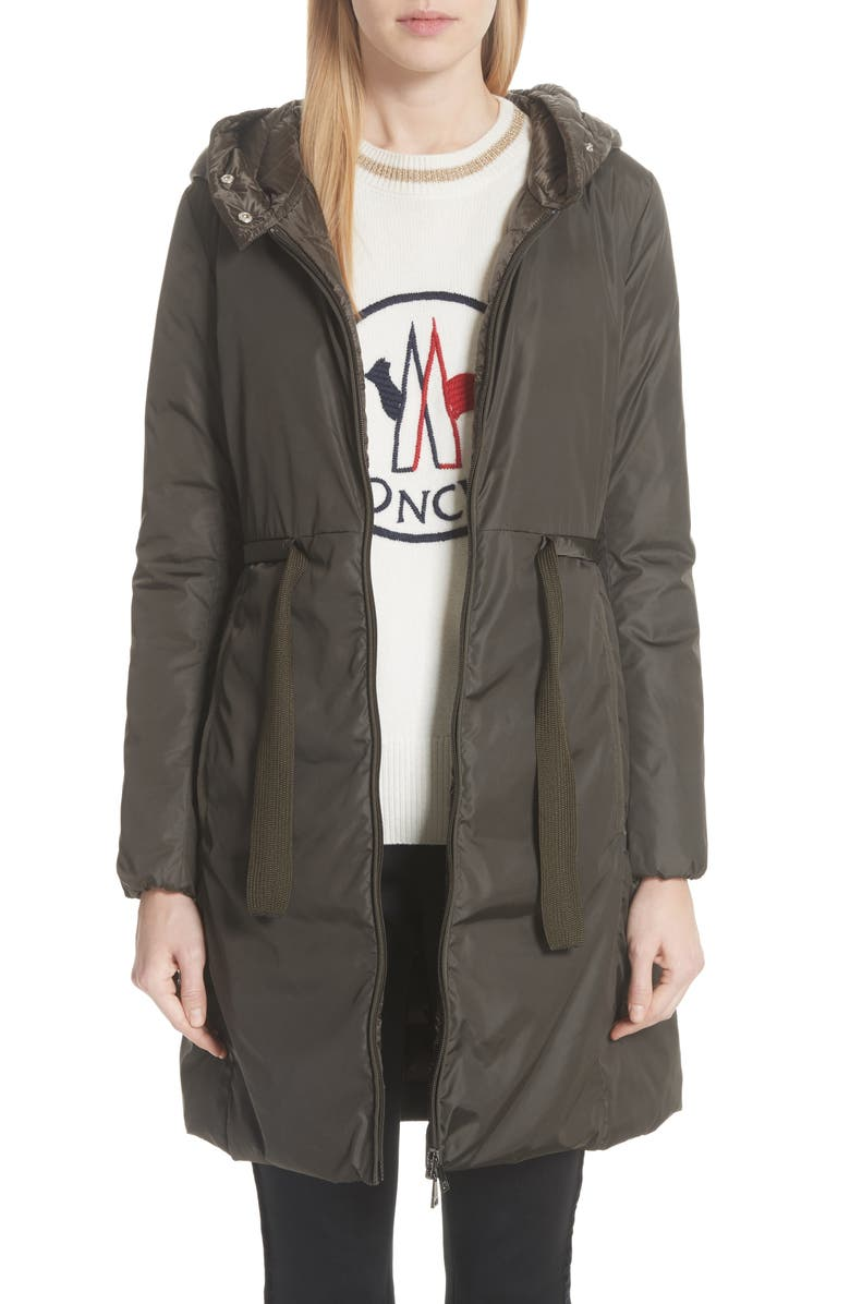 MONCLER Bruant Down Hooded Coat, Main, color, OLIVE