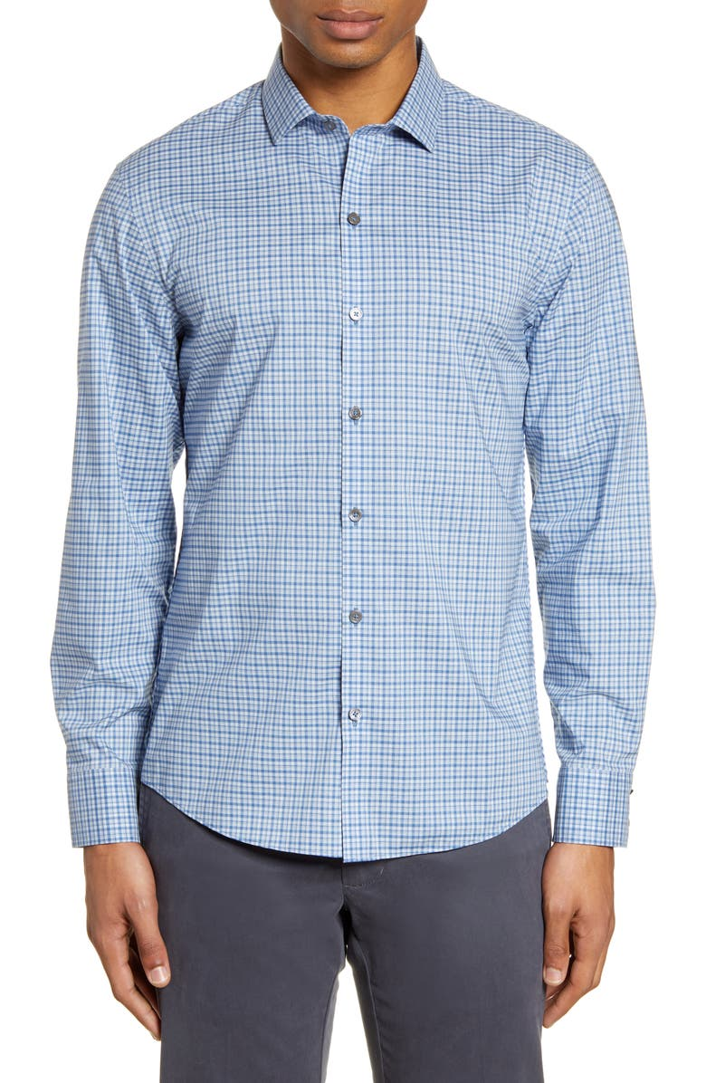 ZACHARY PRELL Prandi Plaid Button-Up Shirt, Main, color, BLUE