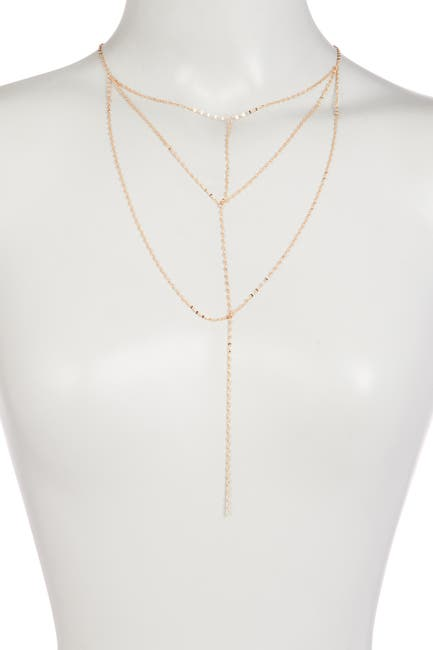 Image of Sterling Forever 14K Gold Plated Triple Layer Delicate Chain Y-Drop Necklace