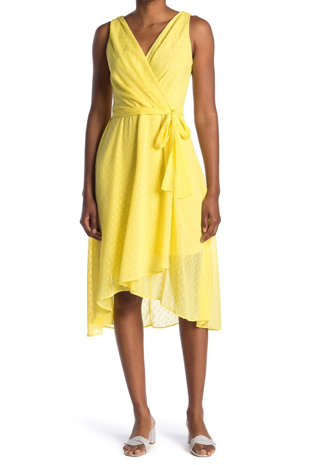 Image of Tommy Hilfiger Sleeveless Dotted Chiffon Midi Wrap Dress