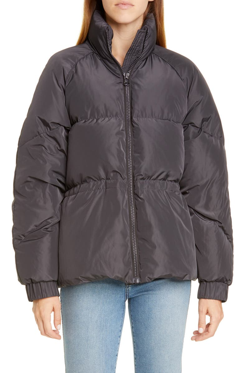 GANNI Tech Down Puffer Coat, Main, color, PHANTOM