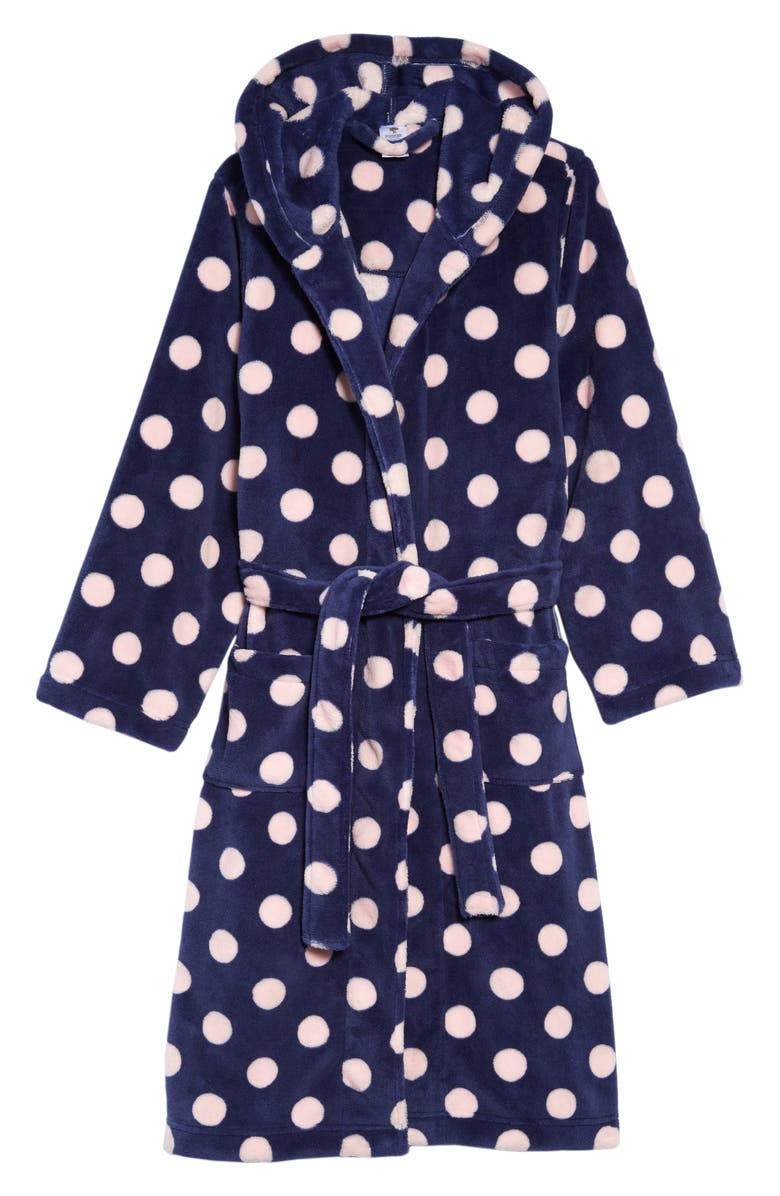TUCKER + TATE Hooded Fleece Robe, Main, color, NAVY PATRIOT DOT