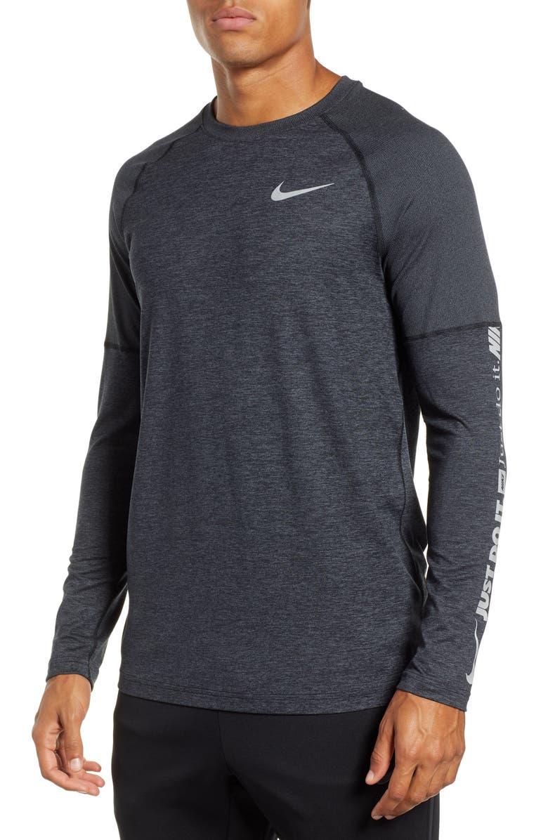 NIKE Dry Element Long Sleeve Running Shirt, Main, color, BLACK/ DARK GREY