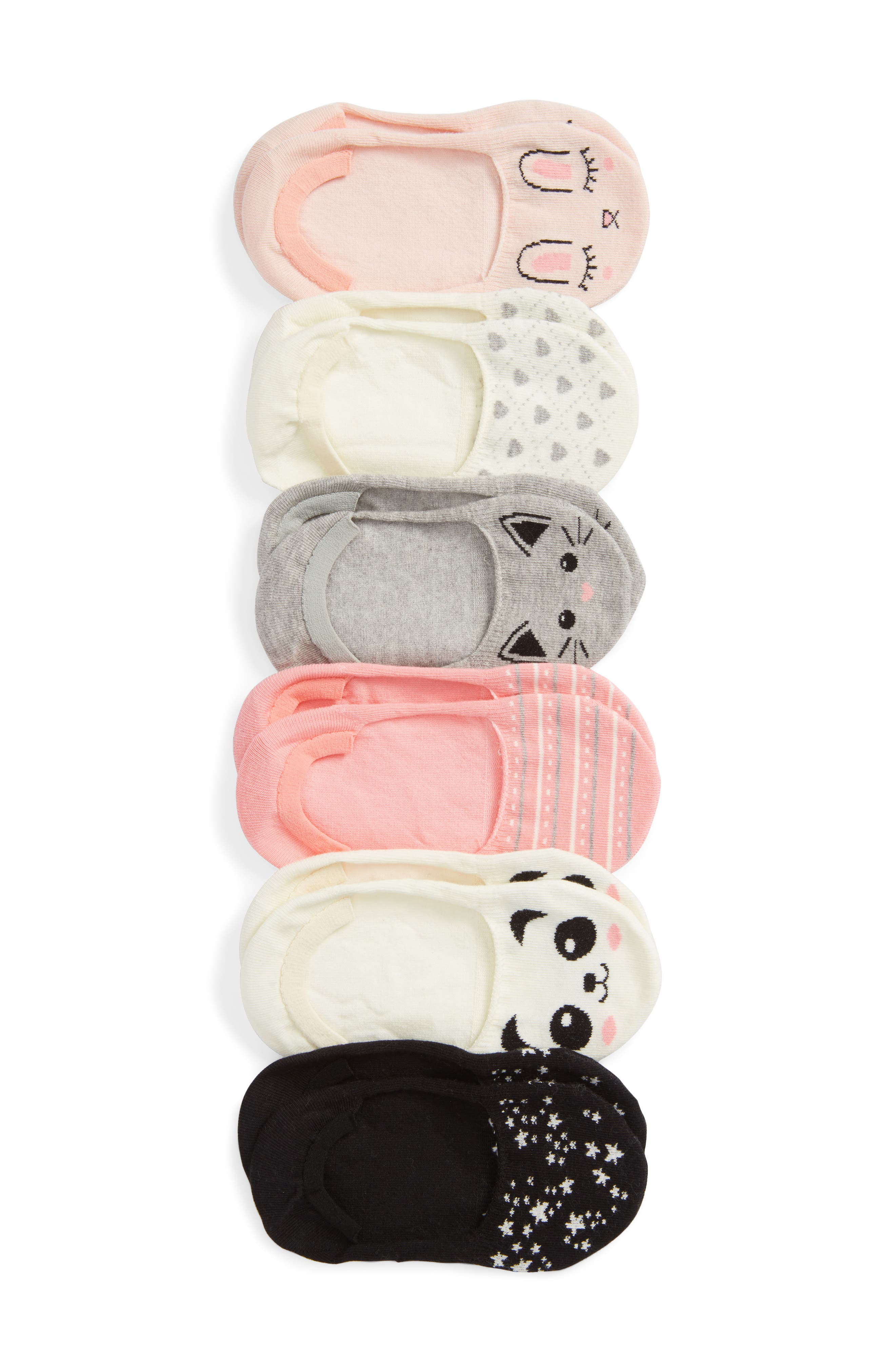 ,                             Critter 6-Pack Assorted Low Cut Socks,                             Main thumbnail 1, color,                             BEIGE WHISPERER CRITTERS