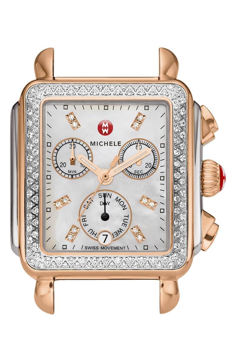 MICHELE Deco Diamond Diamond Dial Watch Case, 33mm x 35mm, Main, color, SILVER/ ROSE GOLD
