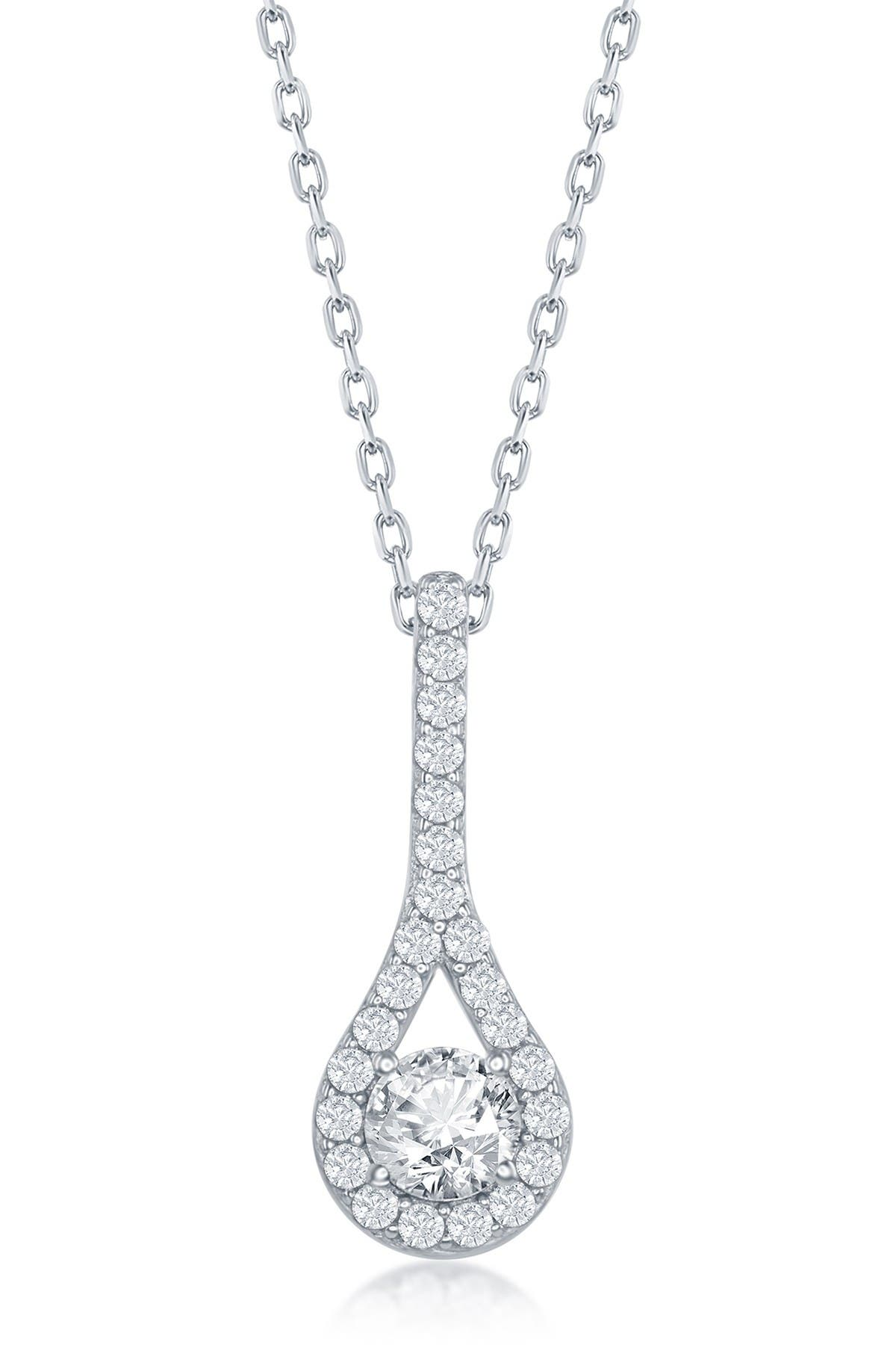 Image of Simona Jewelry Sterling Silver CZ Teardrop Pendant Necklace