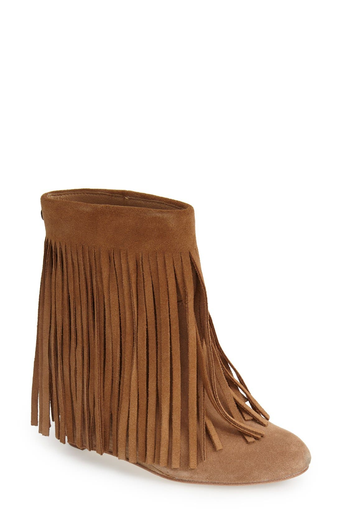 ,                             'Zarin' Fringe Wedge Bootie,                             Main thumbnail 5, color,                             200