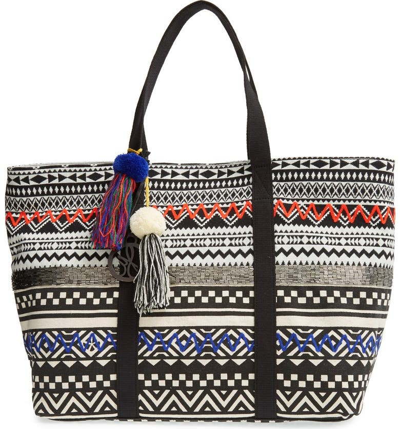 SAM EDELMAN 'Tara' Beaded Geo Print Tote, Main, color, 001