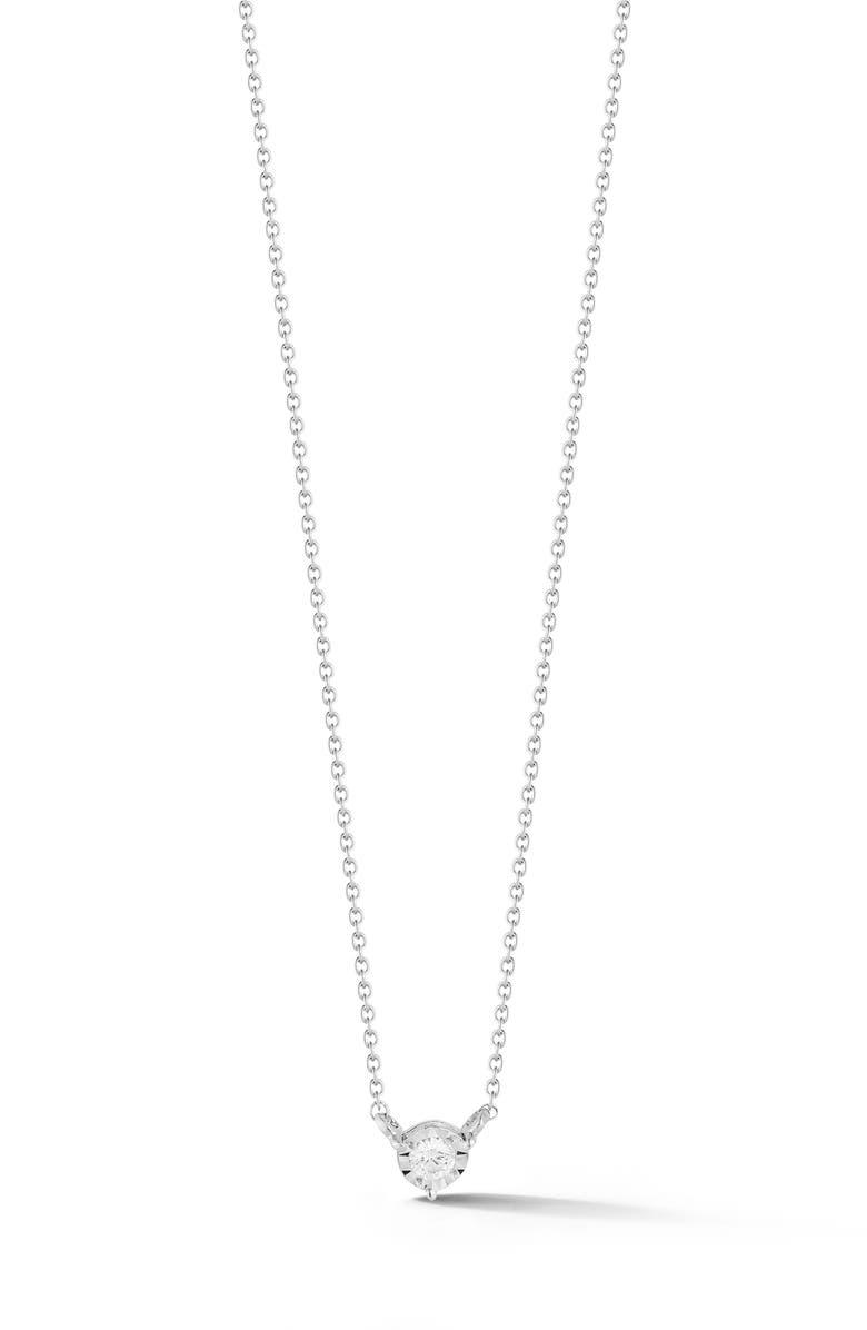 DANA REBECCA DESIGNS Ava Bea Bezel Diamond Pendant Necklace, Main, color, WHITE GOLD/ DIAMOND