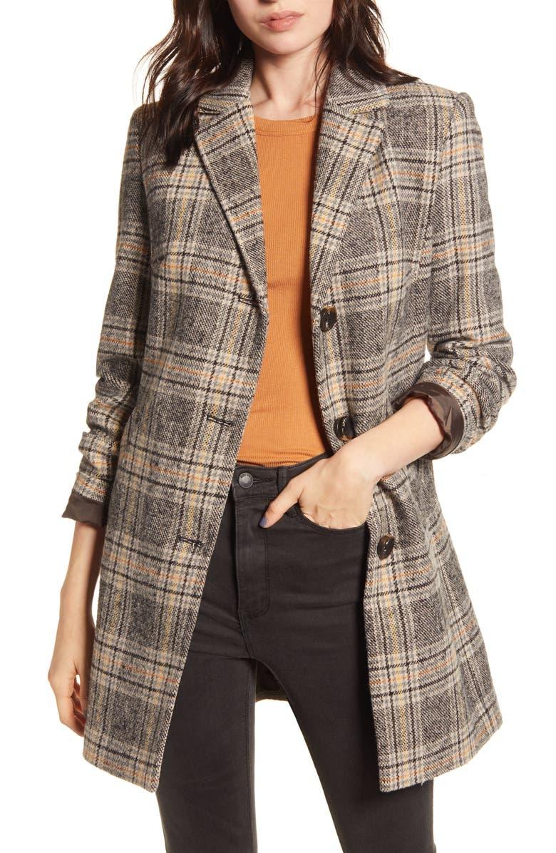 MARALYN & ME Plaid Button Front Coat, Main, color, 001