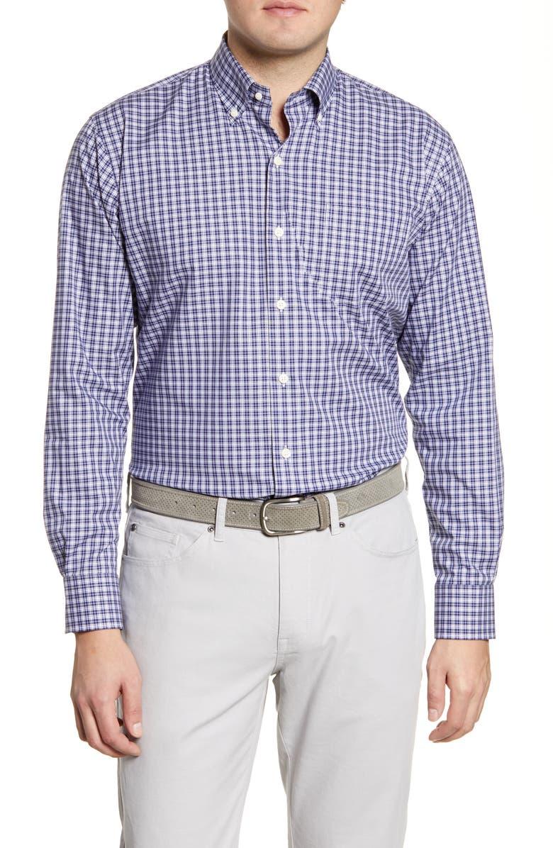 PETER MILLAR Floyd Regular Fit Check Button-Down Shirt, Main, color, NAVY