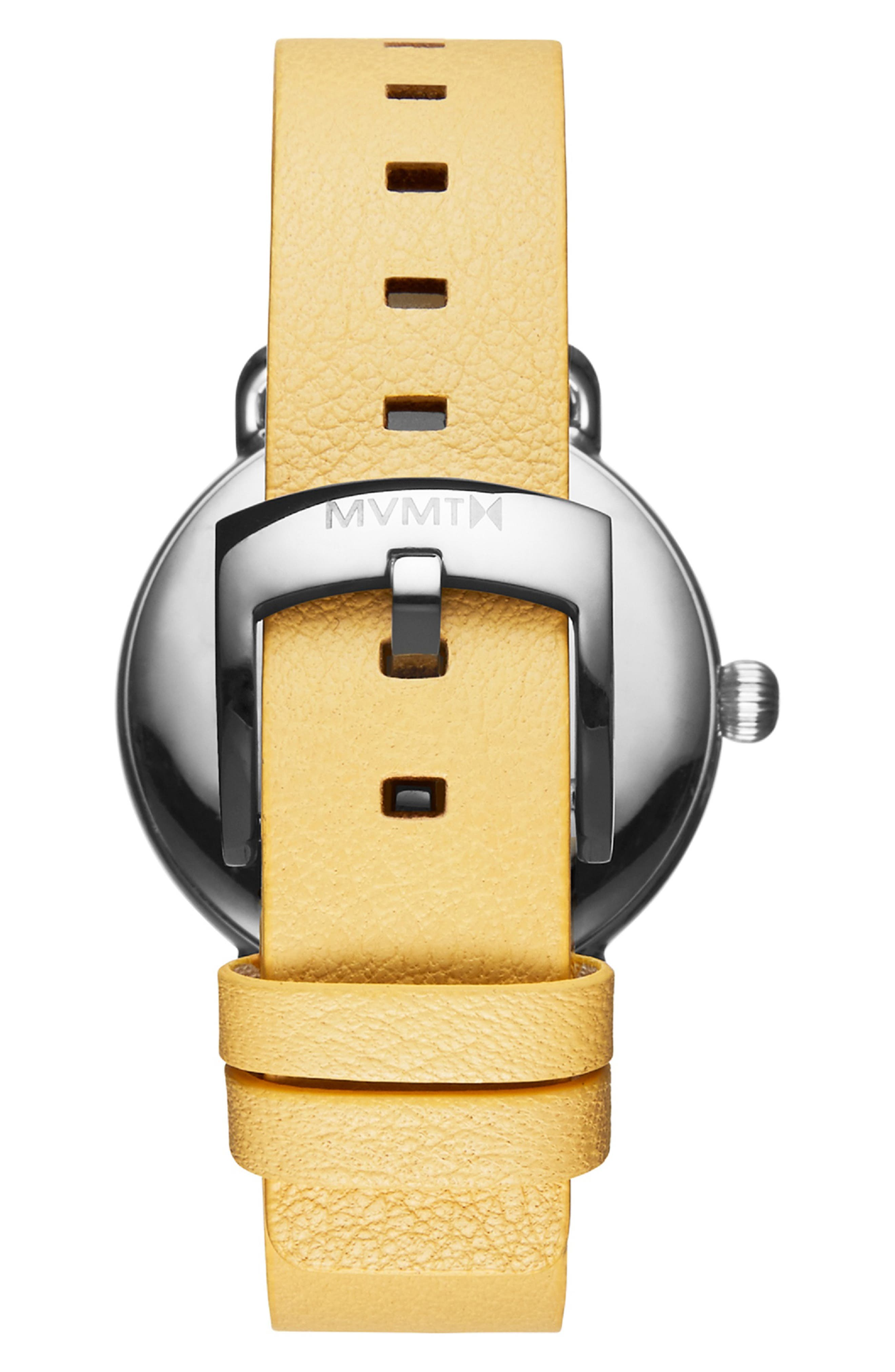 ,                             Bloom Leather Strap Watch, 36mm,                             Alternate thumbnail 3, color,                             YELLOW/ WHITE/ SILVER