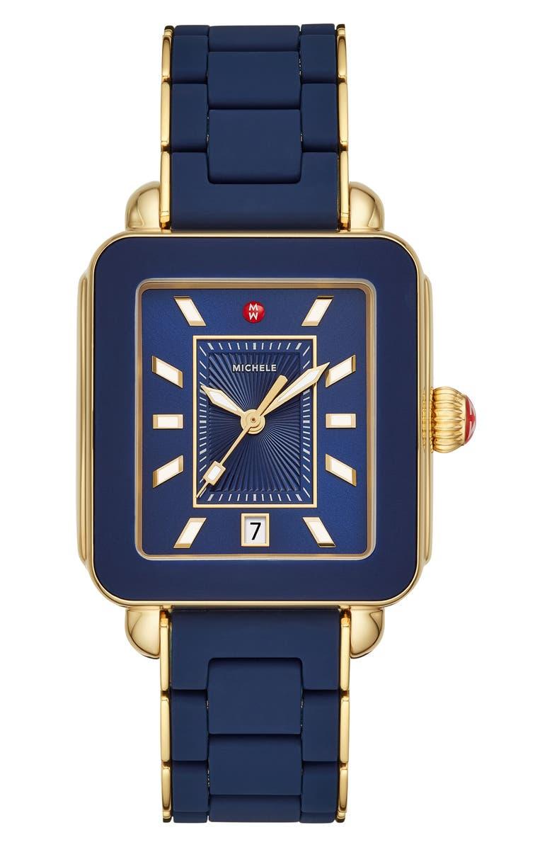 MICHELE Deco Sport Bracelet Watch, 34mm x 36mm, Main, color, BLUE/ SUNRAY/ GOLD