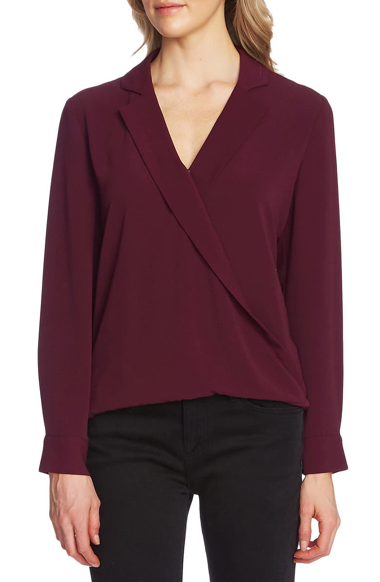 VINCE CAMUTO Faux Wrap Top, Main, color, MERLOT