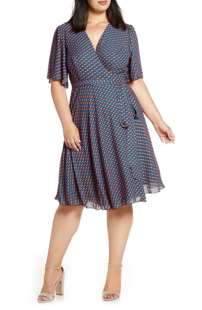 MARÉE POUR TOI Print Wrap Dress, Main, color, NAVY/ ORANGE