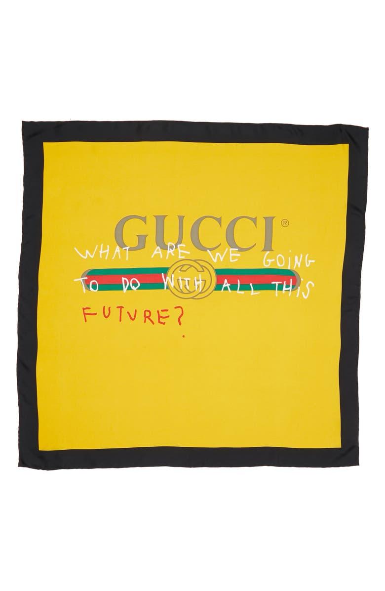 GUCCI Coco Capitán Print Silk Scarf, Main, color, 700