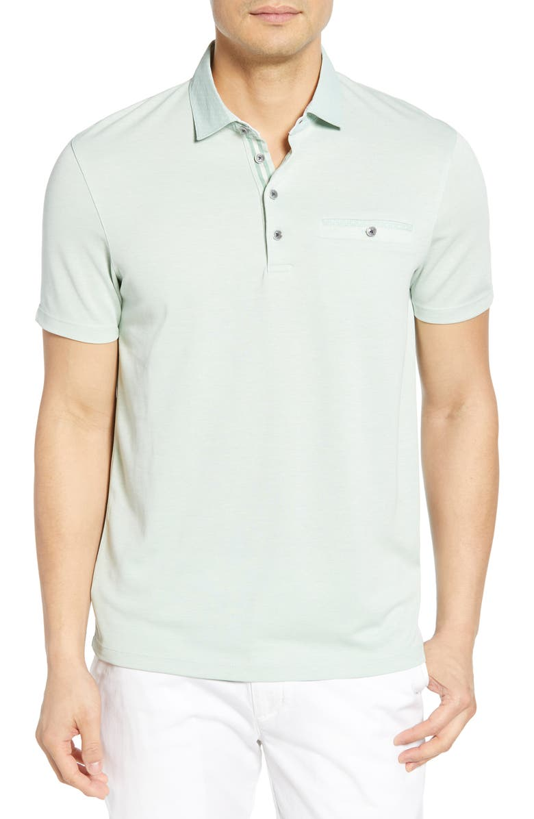 TED BAKER LONDON Owen Slim Fit Soft Touch Piqué Polo, Main, color, LIGHT GREEN