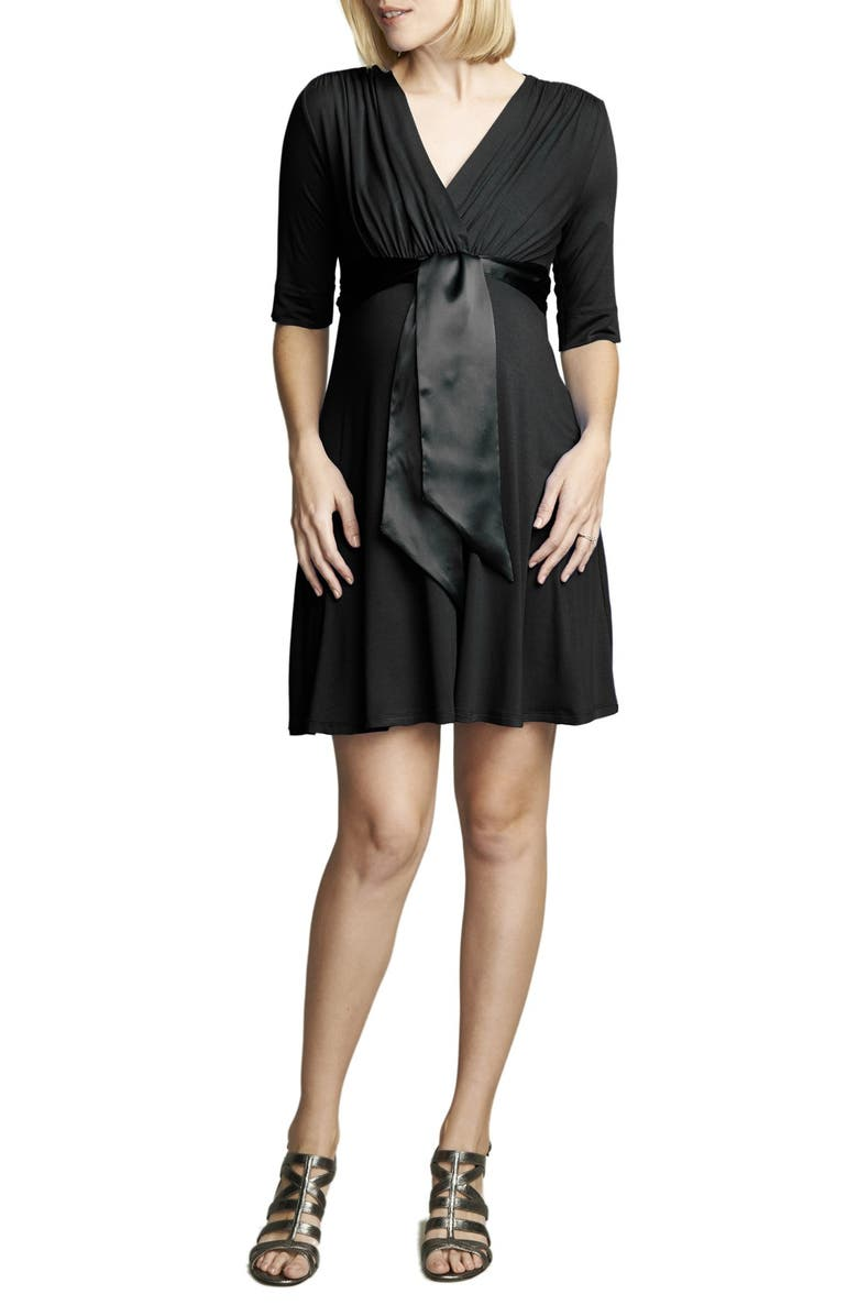 MATERNAL AMERICA Tie Front Maternity Dress, Main, color, 001